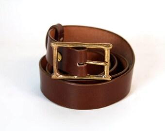 Custom belt, bronze buckle, full grain leather belt handmade leather / leather belt, brass buckle made by hand, customizable
