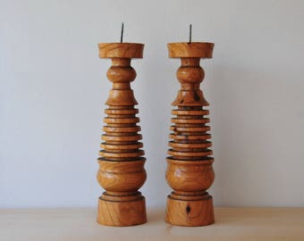 Vintage Turned Wood Candle Holder, A Pair of Wooden Candlesticks, Mid Century Modern Handleholders,