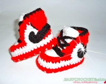 Nike Air Jordan 1, Baby Air Jordan Shoes, Baby Booties, Crochet Baby Shoes, Newborn Air Jordan 1, Baby Crochet Shoes, Red Baby Jordan Shoes