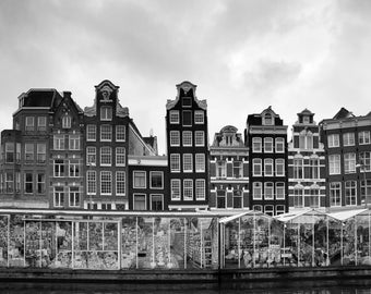 Amsterdam Flower Market Printable Photograph Amsterdam Canal Houses Digital Art Download Black & White Architecture Instant Download Travel