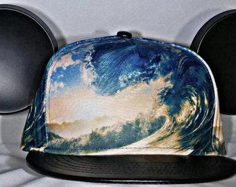 Wave. Mickey Ears. Surfer Mickey. Snap Back Wave. Mickey Ocean.