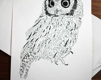 Owl Ink Drawing, Owl No.4, Giclee Print