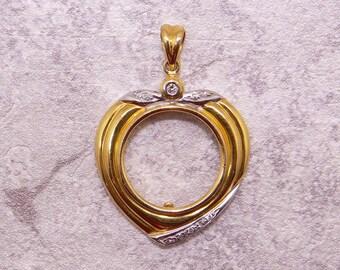 14k Yellow White Gold .10ct Round Diamond Coin Frame Heart Pendant Necklace