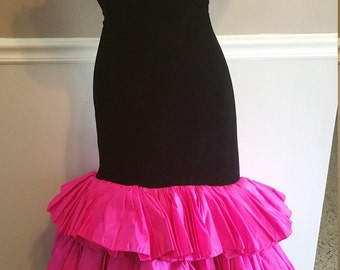 Victor Costa Black Velvet and Pink Taffetta Gown. Small