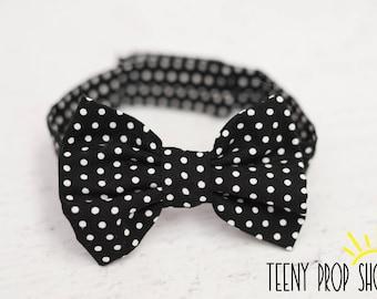 Black and White Polka Dot Bow Tie, Baby Bow Tie, Infant Bow Tie, Boy Bow Tie, Cake Smash Birthday, Black, White, Polka Dot
