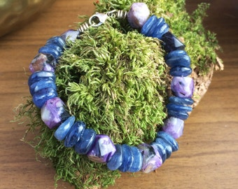 Beautiful Hand-Crafted Charoite & Blue Kyanite (Gem Grade) Crystal Beaded Bracelet