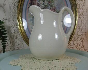 Pitcher, White Stoneware, Pomone 5-32 Scalloped Rim, Milk Pitcher