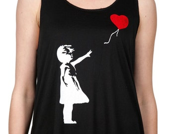 Girl with Balloon Heart Tank Top