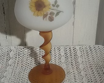 Great cut, opaline vase on foot to orange sunflowers/Vintage décor / Sunflowers cup