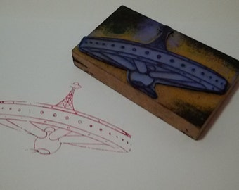 Buffer rubber flying saucer / Ufo stamp