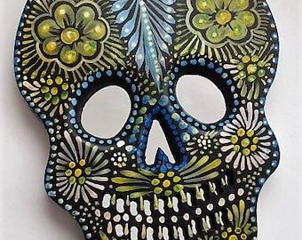 Day of the Dead Skull//Painted Wood Sugar Skull// Mexican Folk Art//Sugar Skull//Day of the Dead Art//LG 11x8