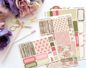 Rustic Floral Horizontal Weekly Kit-- Matte Planner Stickers