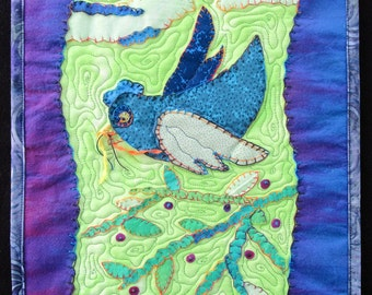 "Whimsical Bird Art Quilt, Colorful Bird Quilt, Quilted Wall Hanging, Home Decor,  Gift for Anyone, 12"" x 14"""