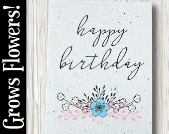 """GROWS WILDFLOWERS! - """"Happy Birthday"""" - Plant the Card - 100% recycled - #BD007"""