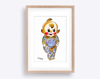 Cute Kitschy Tattooed Kewpie Doll! Watercolour Illustration Tattoo Art Print