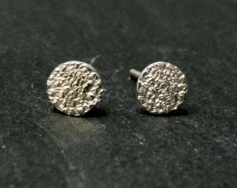 small earrings, sterling silver, stippled, organic