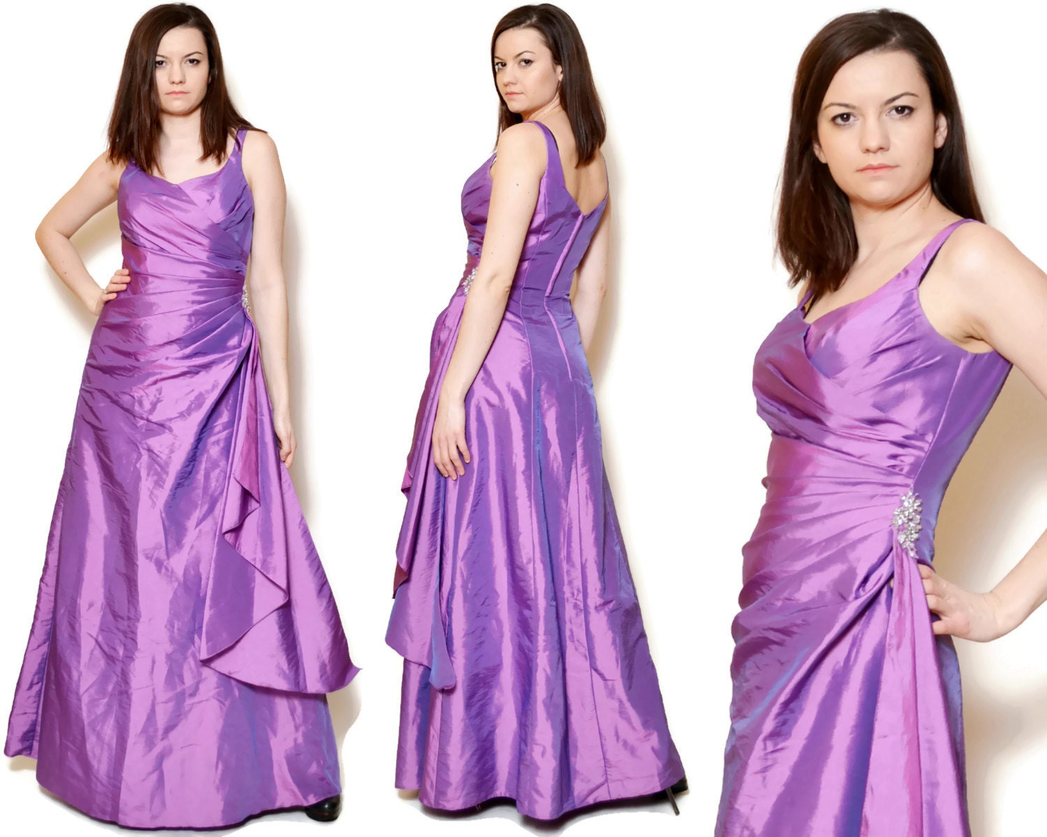 90s prom dress draped dresses embroidered floral pattern