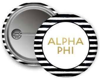 Alpha Phi Faux Gold Foil Striped Sorority Pinback Button