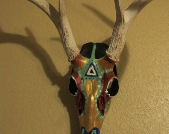 Painted Whitetail Deer Skull