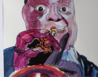louis armstrong art, music painting, Fine art painting, fine art original , wall art, wall decor, art decor, jazz, louis armstrong