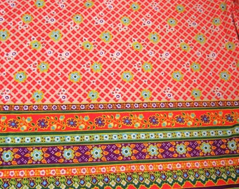 Vintage Nylon Flowered Border Fabric*1970's Flower Power Fabric*Bright Orange, Green, White, Purple*Stretchy Fabric*