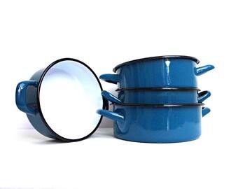 Vintage Blue Enamel Pot with Handles Stock Pot Sauce Pan Canning Casserole Rustic Enamelware Kitchen Container Farmhouse Kitchen Decor