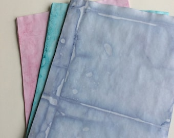 Dyed Paper: purple, blue, pink.  Junk journal papers, journal papers, dyed papers.