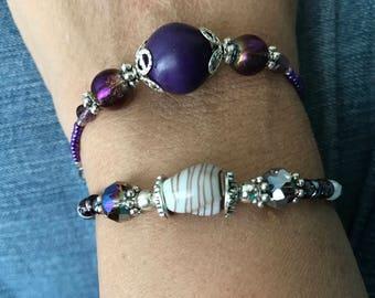 Purple Beaded Bracelets, Purple Stretch Bracelets, Lavender Bead Bracelets, purple bead bracelets, Gifts for her, Handmade bracelets,