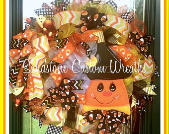 Candy Corn Wreath, Candy Corn, Candy Corn Halloween Wreath, Halloween Wreath, Halloween Witch, Trick or treat wreath, Witch Wreath
