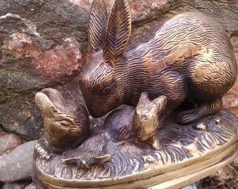 Vintage rabbit bronze statue or sculpture