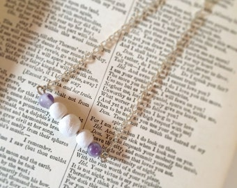 Aromatherapy essential oil diffuser layering necklace with amethyst, fluorite, or labradorite crystals