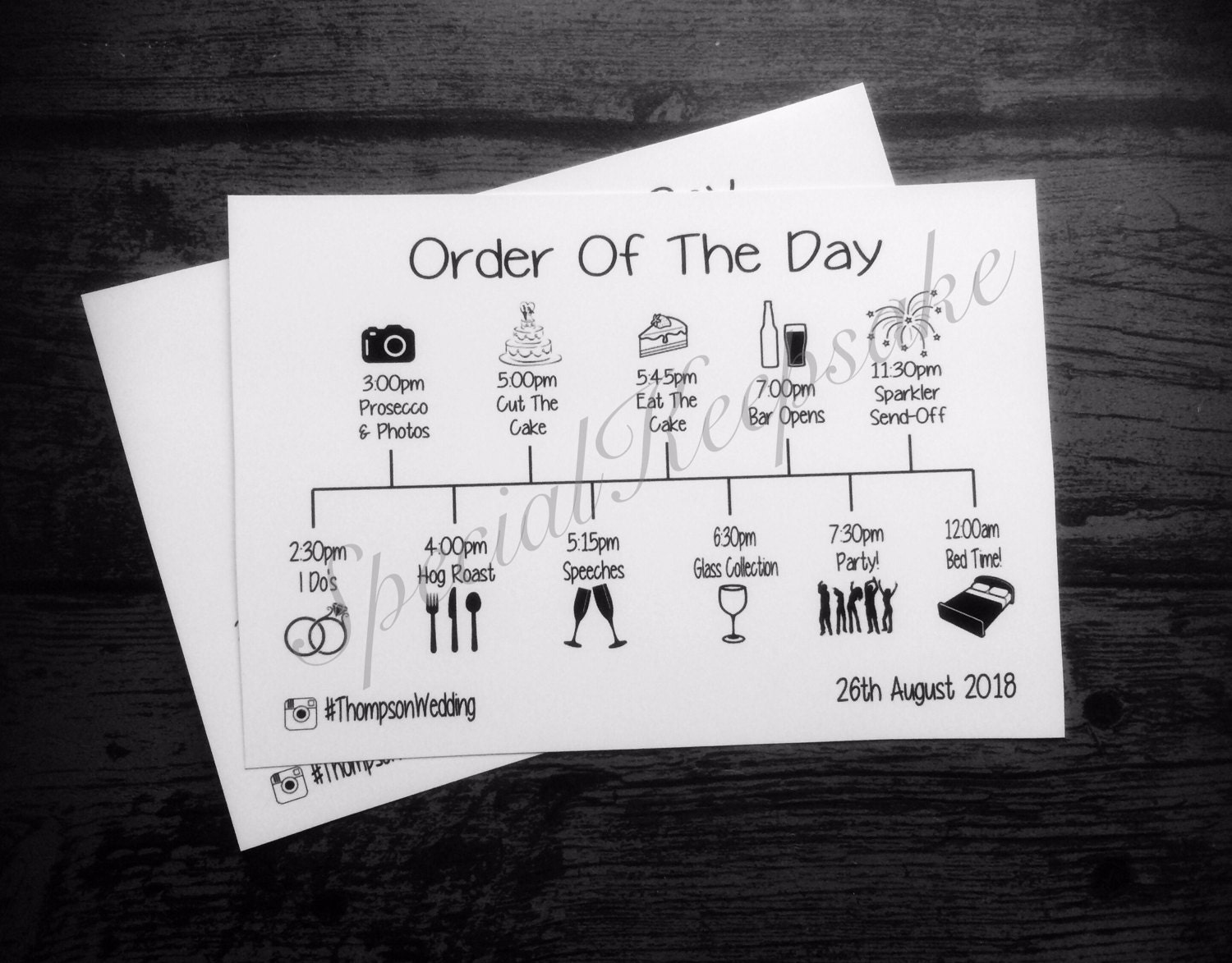 Wedding Order Of The Day: Personalised Order Of The Day Card Wedding Invitation Mr & Mrs