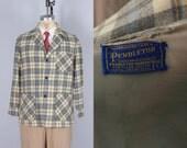 Vintage 1950s Men's Jacket | Pendleton Grey, Blue & Yellow Plaid Wool 49er Jacket | Small