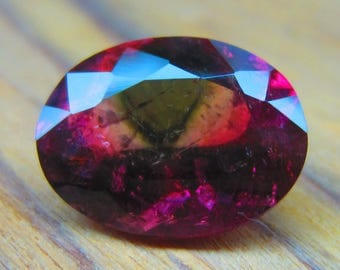 4.50Ct,12.5X9.5X6.5MM,100% Natural Beautiful Bi-Color Watermelon Tourmaline Oval