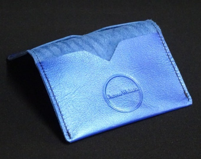 Bantam Wallet - Blue Metallic - Kangaroo leather with RFID Credit Card Blocking - James Watson