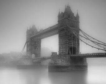 London Fine Art Photo: Old London, Fog, Mist, Tower Bridge, The Thames, Iconic London England