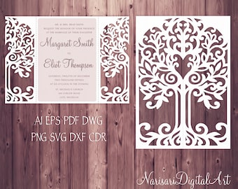 Love Tree Wedding Invitation, Laser Cut Pattern Card Template, SVG, DXF, PLT cutting file, die cut, Silhouette Cameo, Cricut