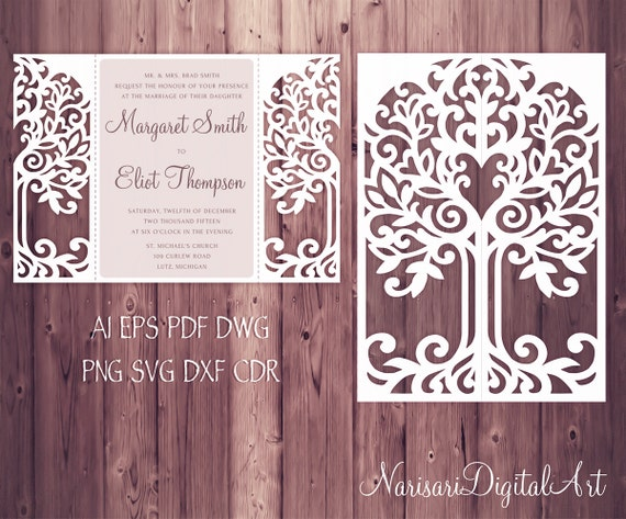 Love Tree Wedding Invitation Laser Cut Pattern Card Template