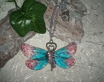 Paste fairy wings pink/blue with key