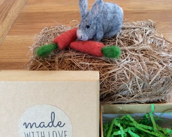 Baby grey rabbit with carrots needle felted  baby bunny with carrots, Easter bunny