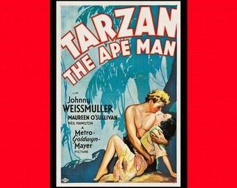 Get 1 Free Print *_* Movie Poster Print - Tarzan The Apeman 1932 - Vintage Movie Print Movie Wall Decor Wall Art Theater Decor Retro
