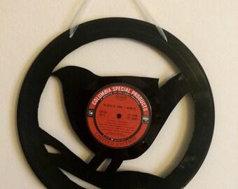 Music of Spring Vinyl Record Bird Wall Art with Sheer Cream Ribbon