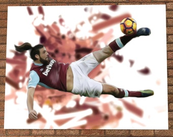 Andy Carroll Bicycle Kick - West Ham - Andy Carroll Painting Poster Digital Print - The Hammers - Andy Carroll Illustration