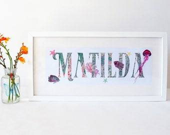 Pink and Green Under the Sea Personalised Name Print for Children - Framed Name Plaque - Nursery Name Sign - Baby Girls Name Frame Gift