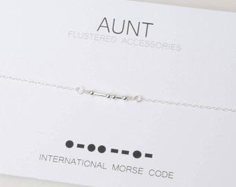 Morse Code Necklace, Morse Code Aunt, Aunt Necklace, Aunt Jewelry, Morse Code Jewelry,