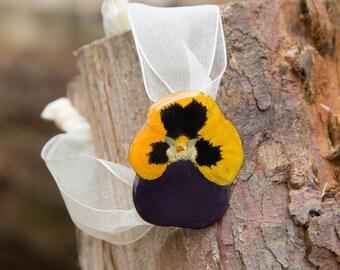 Yellow Pansy Bracelet bracelet with lace