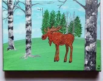 "Original Moose Painting on Canvas 7"" x 9.5"" / 18 cm x 24 cm"