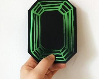 Green Foil Letterpress Gemstone Design Card, engagement, wedding, thank you, elegant stationery