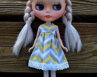 Yellow & Gray Zig Zag Blythe Dress