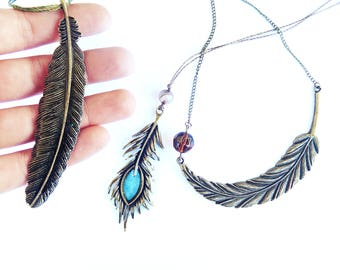 Bronze Feather Necklace, Feather Pendant, Feather Jewelry, Sideways Feather Necklace, Piuma, Collana piuma, Resin